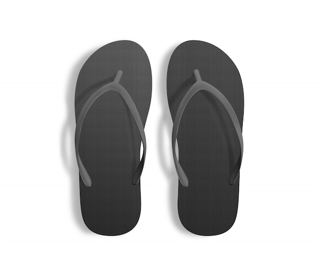 Pair of blank black beach slippers