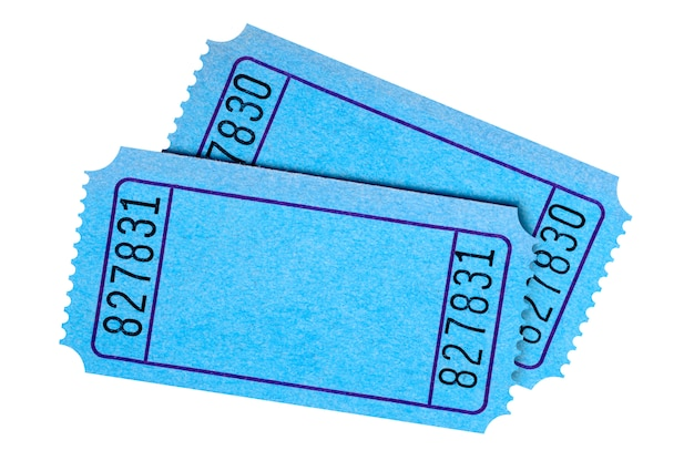 Pair of blank blue movie or raffle tickets isolated on white bac