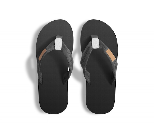 Pair of blank grey slippers, design mock up, clipping path.