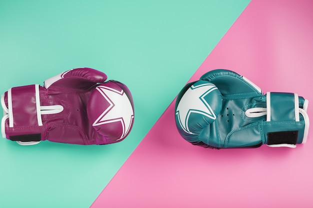 A pair of blue and pink boxing gloves