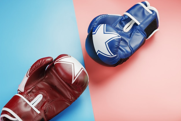 A pair of blue and pink boxing