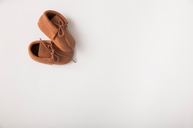 Pair of brown shoes on white background