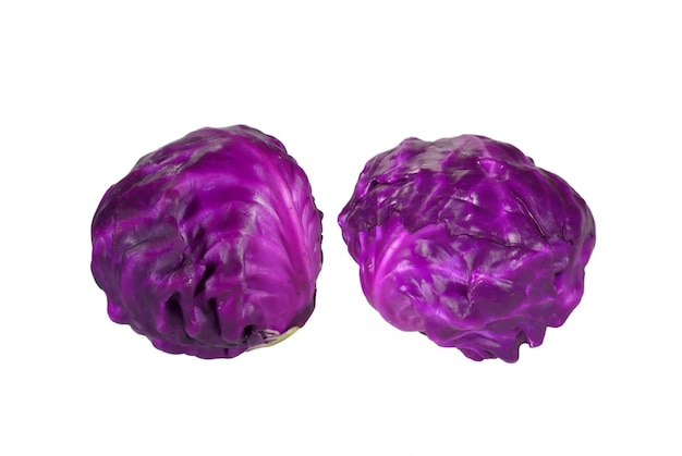 Pair of fresh ripe red cabbages isolated