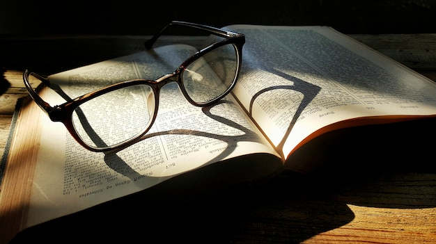 A pair of glasses and a book