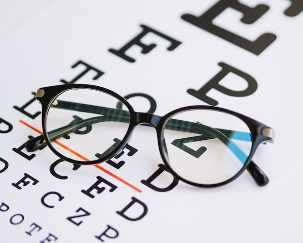 Pair of glasses with black frame on a testing blank
