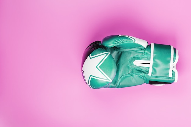 A pair of green and pink boxing gloves on a light green and pink background