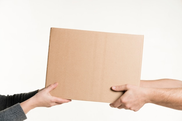 Pair of hands holding cardboard front view