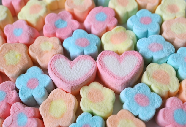 A pair of heart shaped marshmallow among lined up pastel flower shaped marshmallow