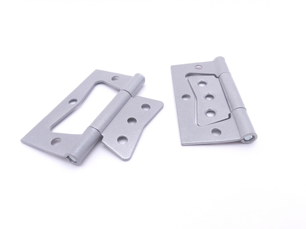 Pair of hinges for door on white background