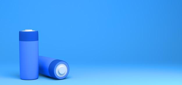 Пара батареек на синем фоне баннер абстрактные 3d иллюстрации