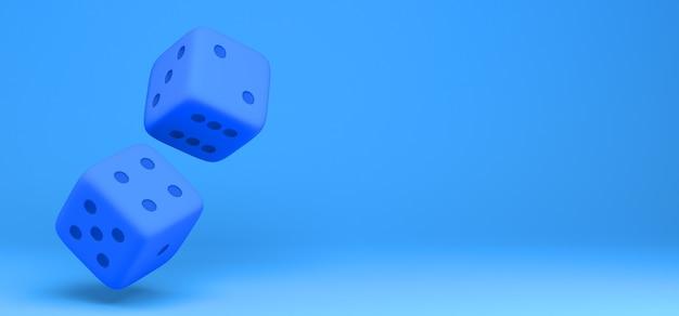 파란색 배경 3d 그림에 주사위의 쌍입니다. 배너. 추상적 인.