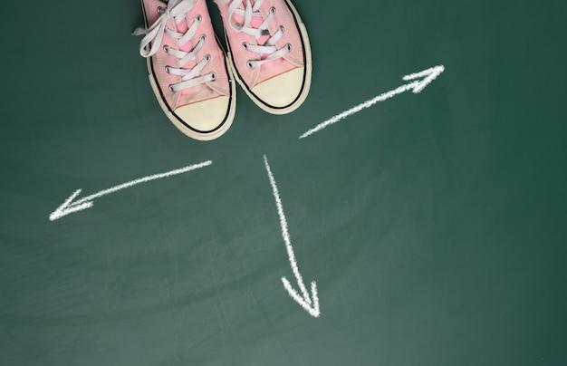 緑の背景にピンクのスニーカーのペアと白いチョークで同じ方向に描かれた矢印、上面図。選択の難しさ、不確実性、ライフパスの概念
