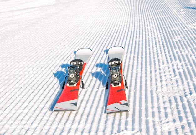 山の中にきれいに敷設された雪のスキーのペア