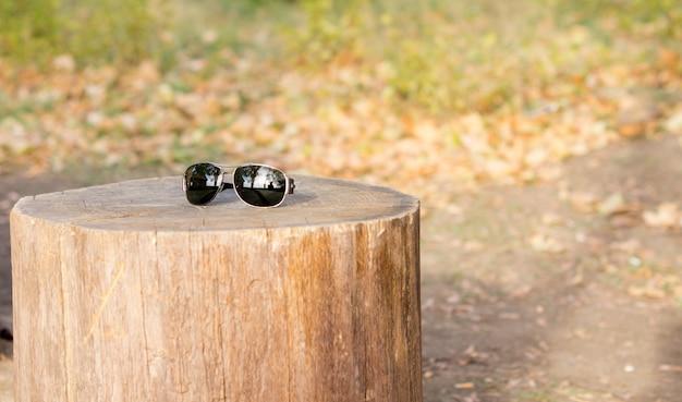 屋外の木の切り株のテーブルに捨てられたサングラスのペア