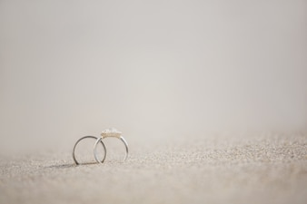 Pair of wedding ring on sand