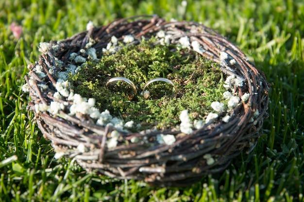 巣に横たわる結婚指輪のペア。結婚式の装飾。家族、一体感、愛の象徴