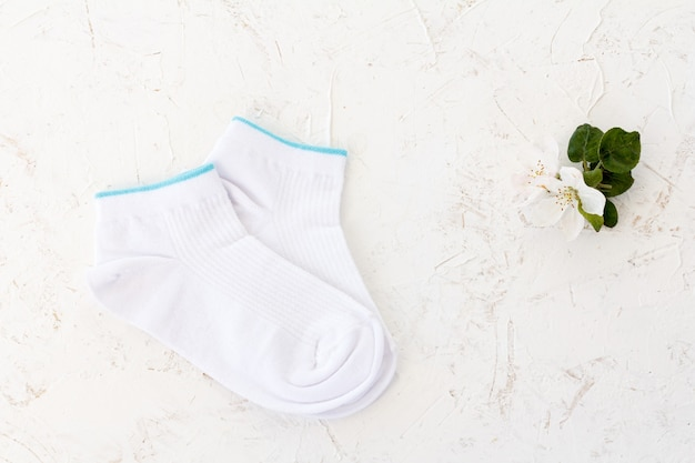 白い背景の上の女性の靴下のペア。