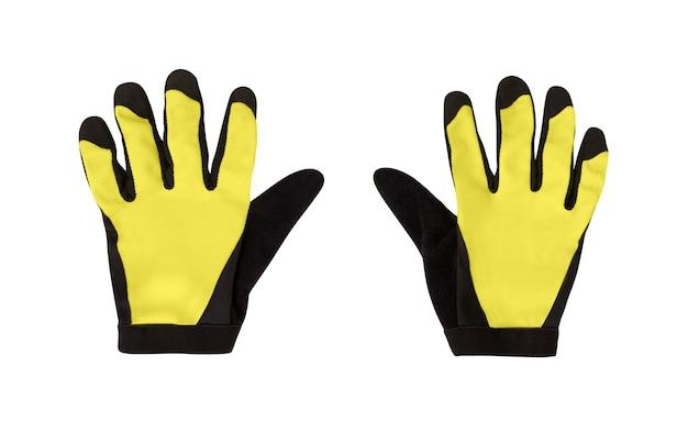 자전거 타기 또는 기타 스포츠 활동을위한 노란색 장갑 한 켤레. 흰색 절연 액세서리
