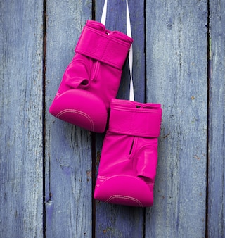 Pair of pink gloves for kickboxing