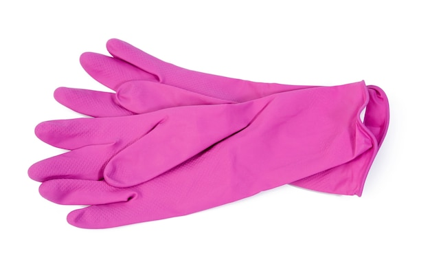 Pair of pink protective rubber gloves for cleaning on a white background, top view