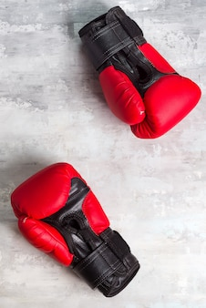 Pair red of boxing gloves