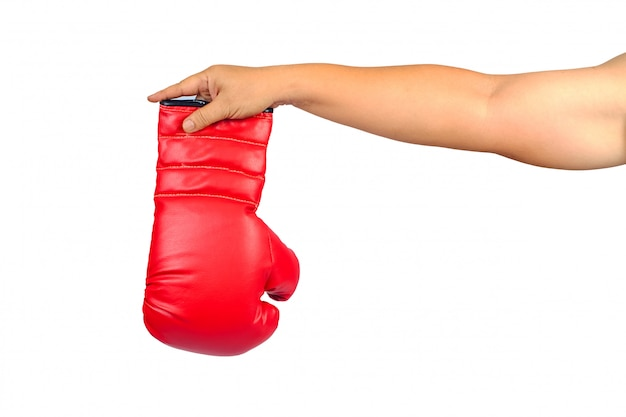 Pair of red leather boxing gloves or mitt isolated