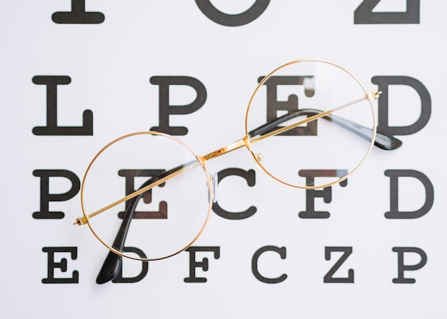 Pair of round glasses with gold frame and a testing blank