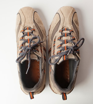 Pair of shoes in reverse. concept of ocd