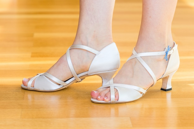 Pair of white wedding shoes for women