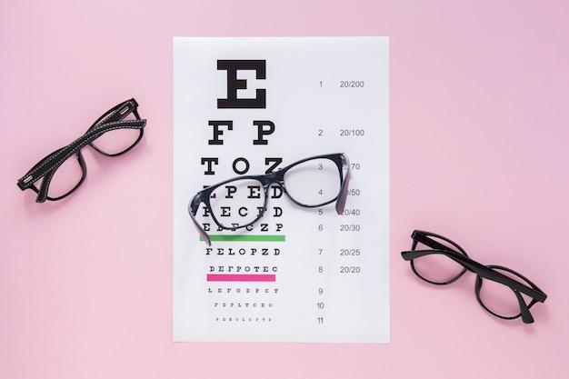 Пары очков с алфавитным столом на розовом фоне