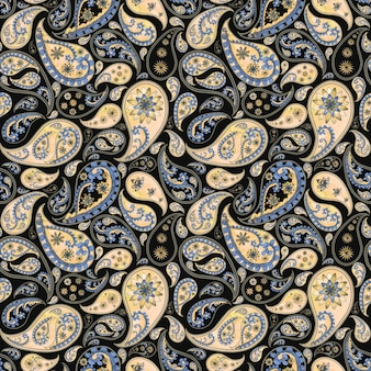 Paisley abstract floral vintage seamless pattern in oriental style. watercolor hand drawn purple blue yellow beige texture on black background. wallpaper, wrapping, textile, fabric