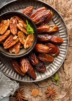 Pakistan dates and nuts top view