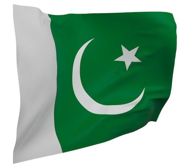 パキスタンの旗が分離されました。手を振るバナー。パキスタンの国旗
