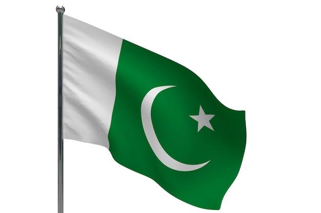 ポールのパキスタンの旗。金属製の旗竿。白のパキスタンの3dイラストの国旗