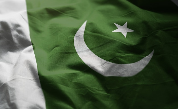 Pakistan flag rumpled close up