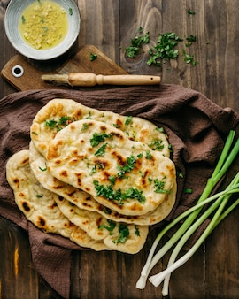 Pakistani food on cloth top view