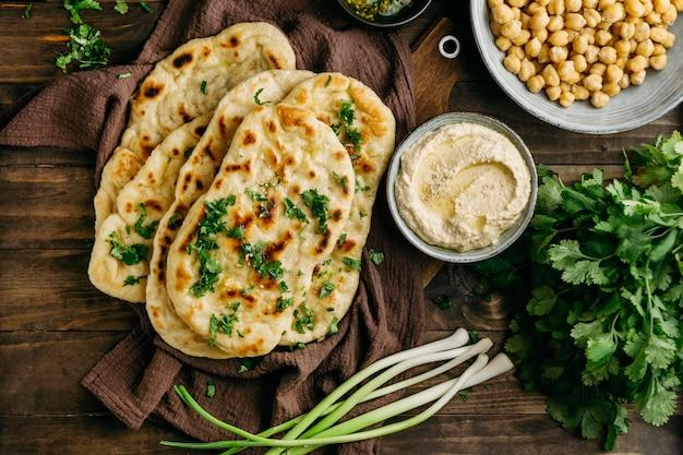 Pakistani food on cloth above view