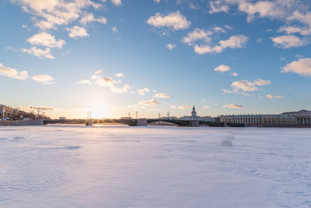 Palace bridge. neva river. saint-petersburg. russia in winter.