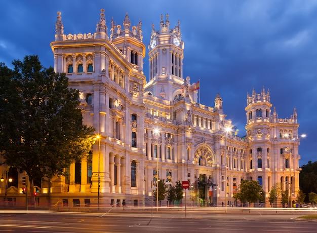 Palace of communication in summer dusk. madrid
