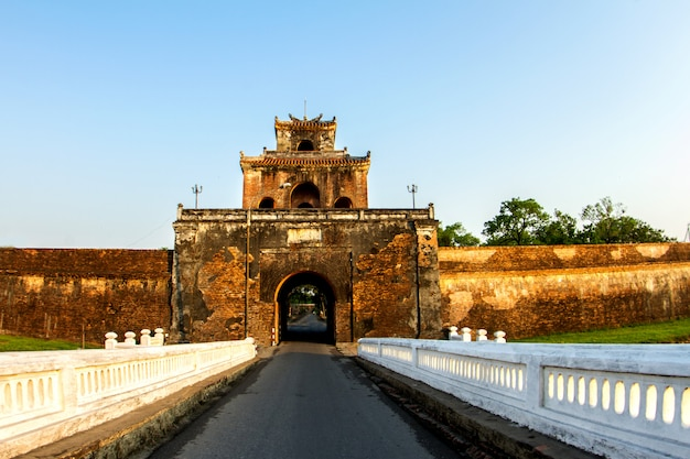 The palace gate, imperial palace moat,hue province. vietnam