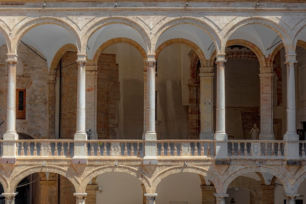 Palace of the normans in palermo sicily. detail of the colonnade.