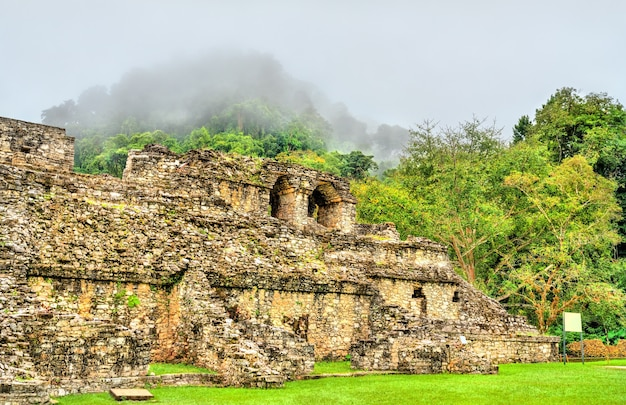The palace at the palenque maya archeological site. unesco world heritage in mexico