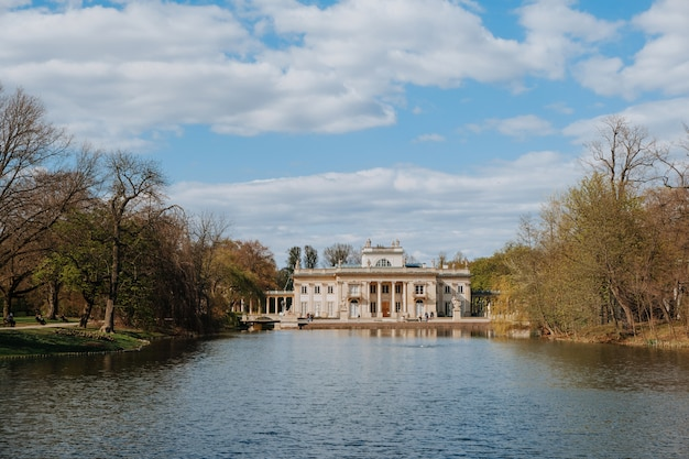 Palace on the water in lazienki park in warsaw, poland