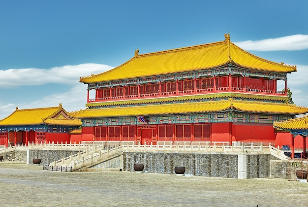 Palaces, pagodas inside the territory of the forbidden city museum in beijing in the heart of city,china.