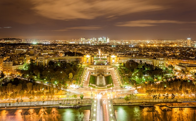 The palais de chaillot, the trocadero and la defense as seen from eiffel tower in paris