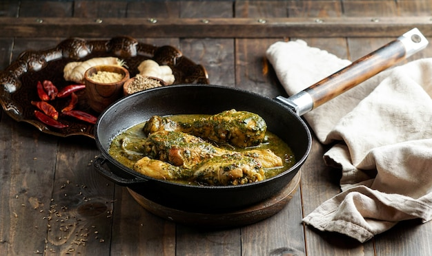 Palak chicken or chicken saag, traditional indian or pakistani food