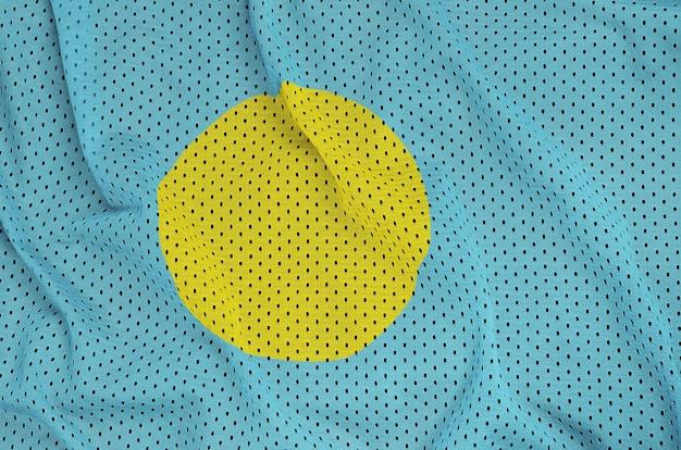 Palau flag printed on a polyester nylon sportswear mesh fabric