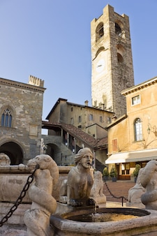 Palazzo del podesta in old town, bergamo, italy