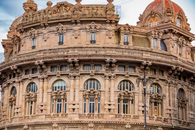 Palazzo della borsa in genoa, italy. it is designed by adolfo coppede and built at 1912