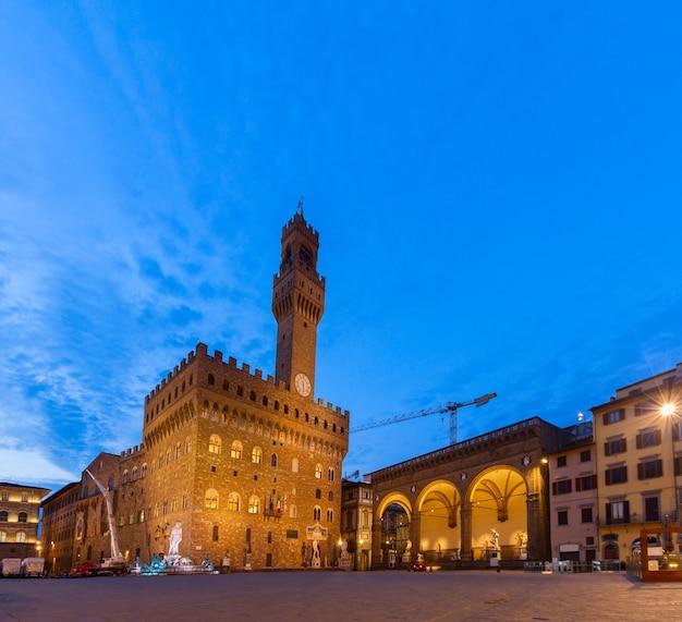 밤의 베키오 궁전, 피렌체, 투스카니, 이탈리아